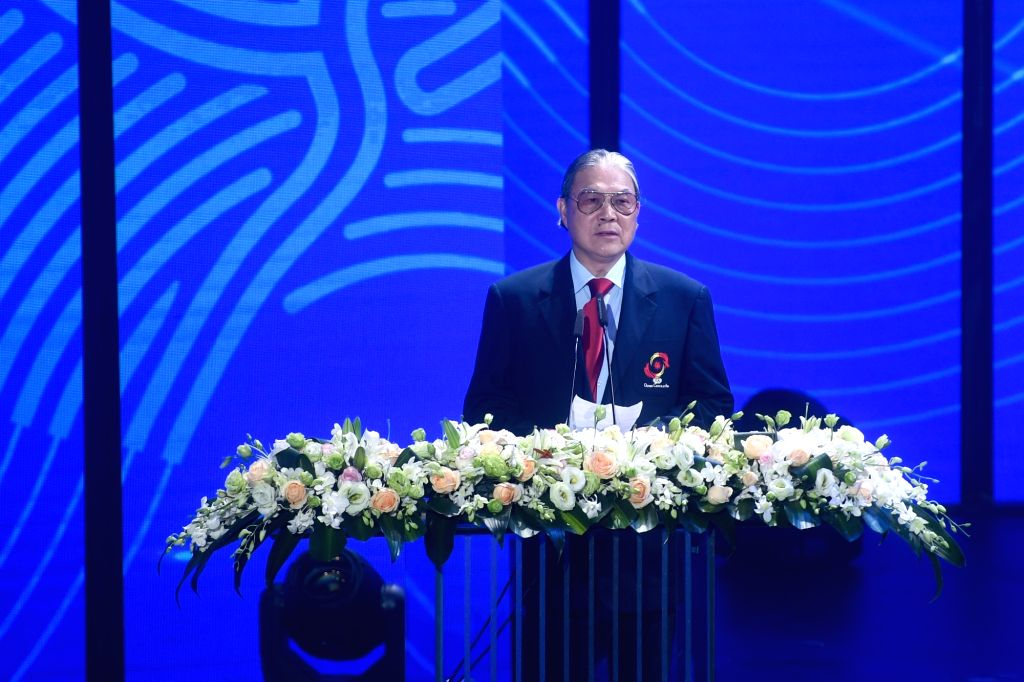 HANGZHOU, Aug. 6, 2018 - Timothy Fok Tsun-ting, vice Chairman of Olympic Council of Asia, speaks during the Emblem Launch Ceremony for the 19th Asian Games Hangzhou 2022 on Aug. 6, 2018, in Hangzhou, ...