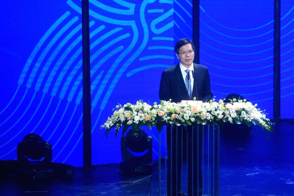 HANGZHOU, Aug. 6, 2018 - Xu Liyi, Mayor of Hangzhou, speaks during the Emblem Launch Ceremony for the 19th Asian Games Hangzhou 2022 on Aug. 6, 2018, in Hangzhou, capital of east China's Zhejiang ...