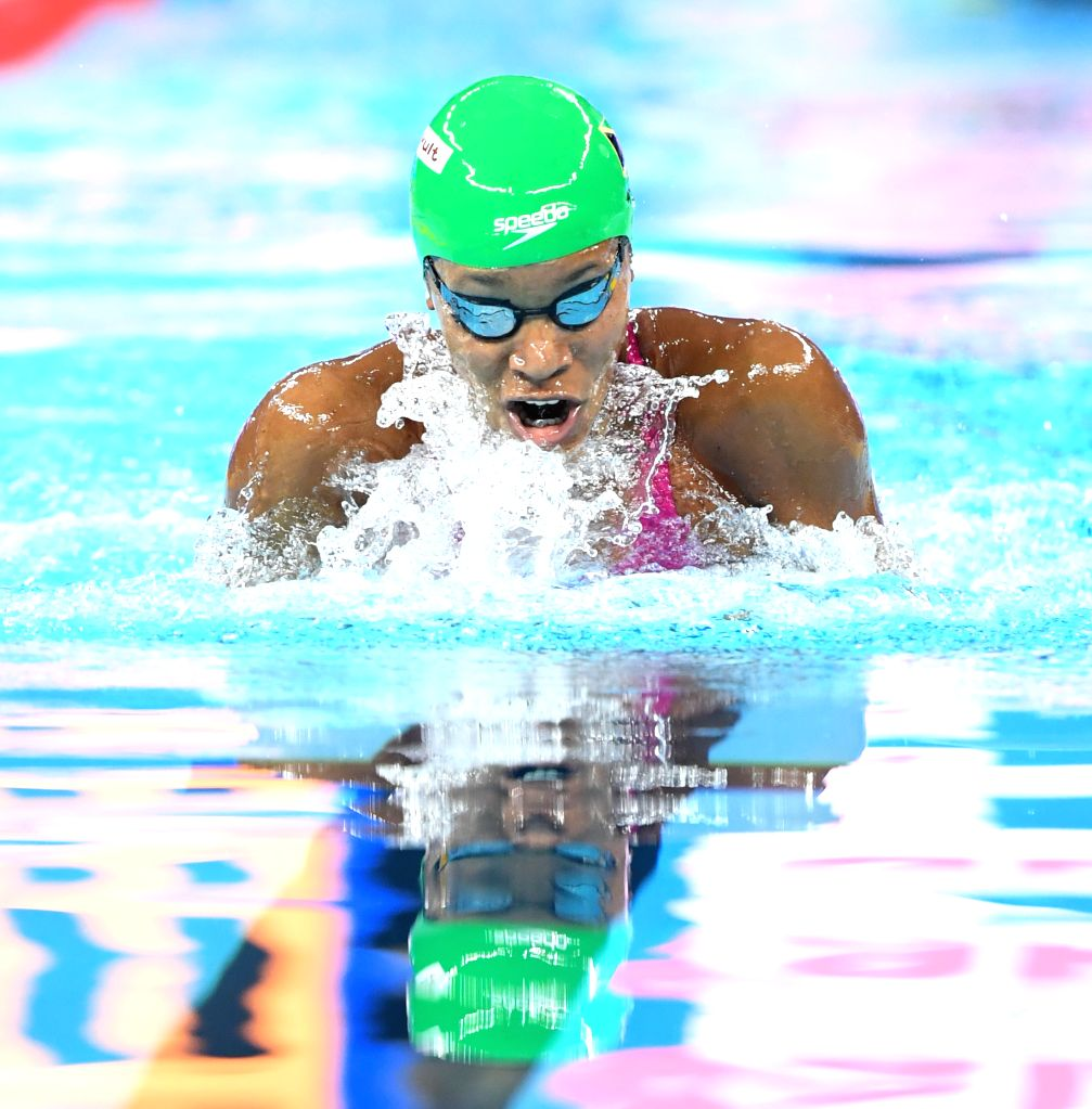 HANGZHOU, Dec. 12, 2018 - Alia Atkinson of Jamaica competes during Women's 50m Breaststroke Final at 14th FINA World Swimming Championships (25m) in Hangzhou, east China's Zhejiang Province, on Dec. ...