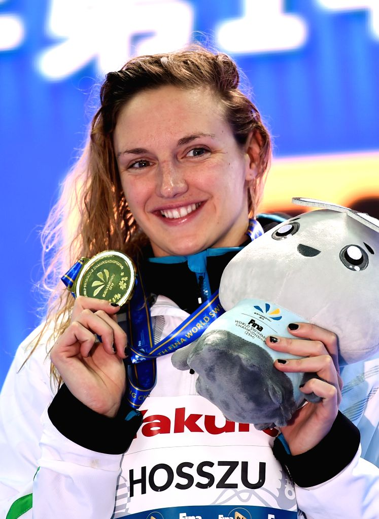 HANGZHOU, Dec. 12, 2018 - Katinka Hosszu of Hungary poses with her medal during the awarding ceremony of Women's 200m Butterfly Final at 14th FINA World Swimming Championships (25m) in Hangzhou, east ...