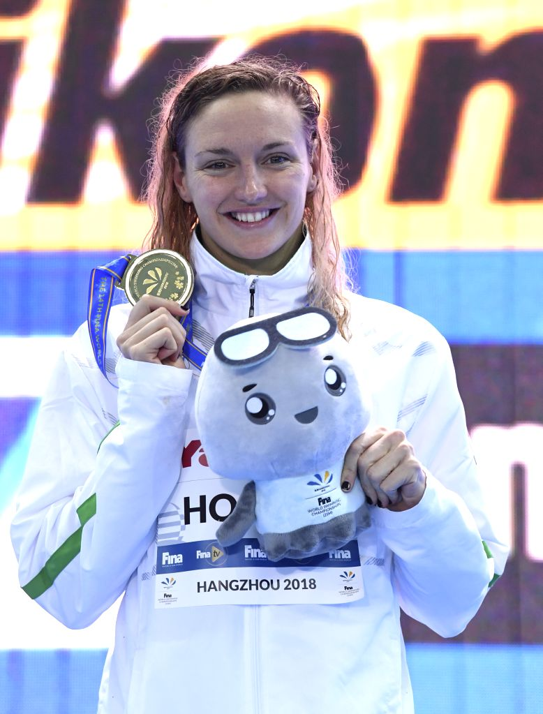 HANGZHOU, Dec. 14, 2018 - Gold medalist Katinka Hosszu of Hungary poses for photo during the awarding ceremoy of Women's 100m Individual Medley Final at 14th FINA World Swimming Championships (25m) ...