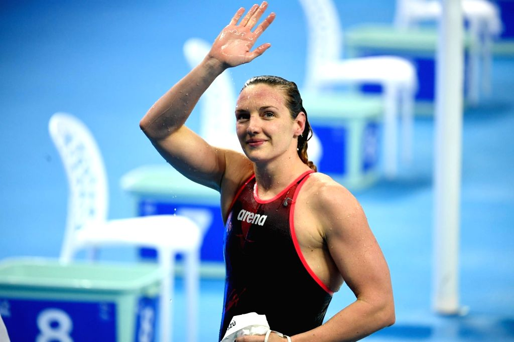 HANGZHOU, Dec. 14, 2018 - Katinka Hosszu of Hungary gestures to audience after Women's 100m Individual Medley Final at 14th FINA World Swimming Championships (25m) in Hangzhou, east China's Zhejiang ...