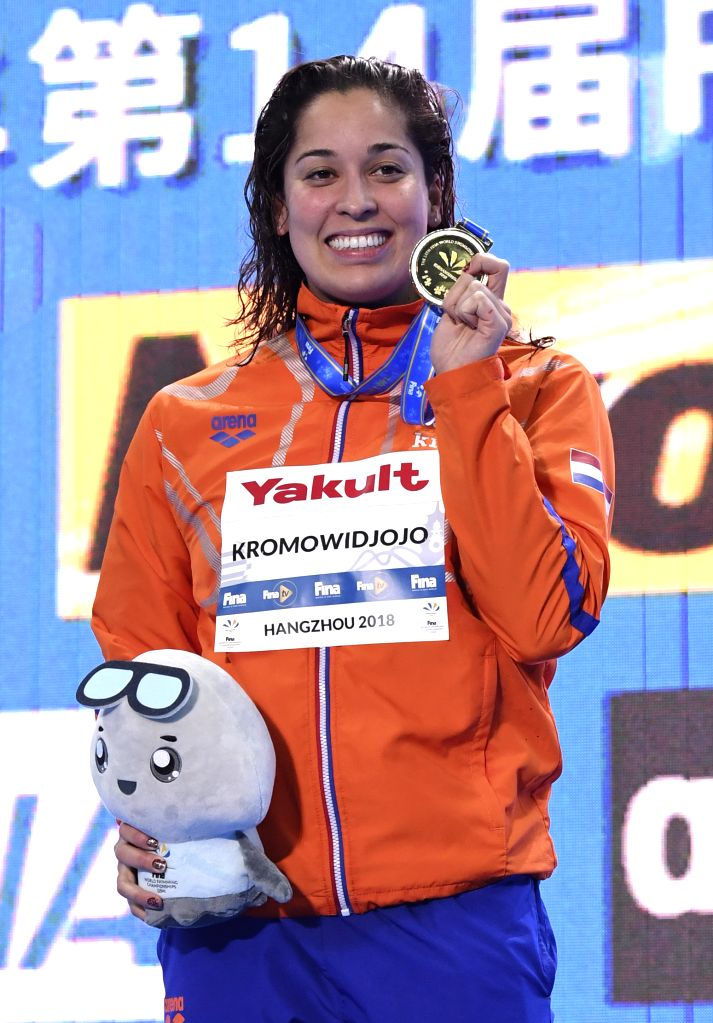 HANGZHOU, Dec. 14, 2018 - Ranomi Kromowidjojo of the Netherlands poses with medal during the awarding ceremony of Women's 50m Butterfly Final at 14th FINA World Swimming Championships (25m) in ...