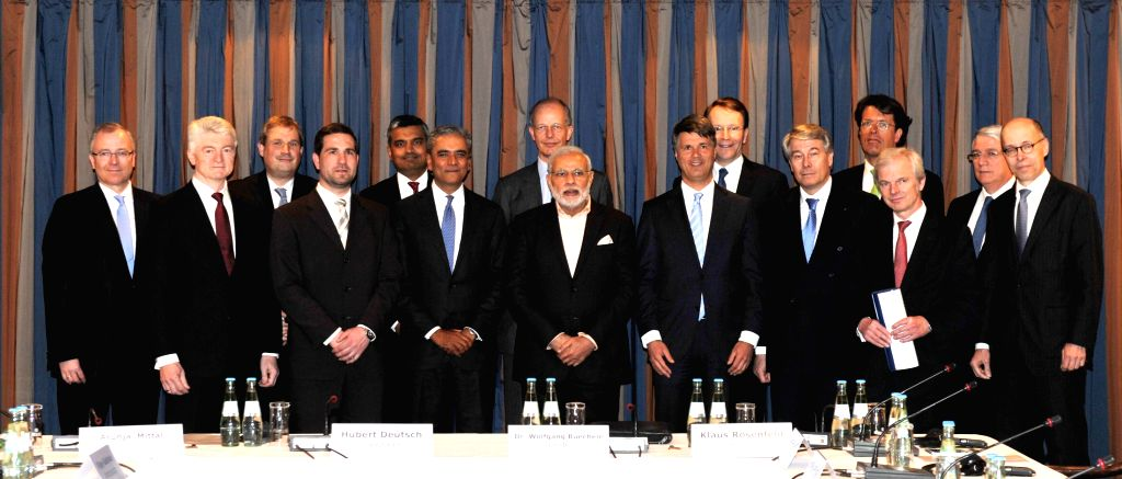 Hannover (Germany): Prime Minister Narendra Modi at the Round Table Meeting with the German CEOs, in Hannover, Germany on April 12, 2015. - Narendra Modi