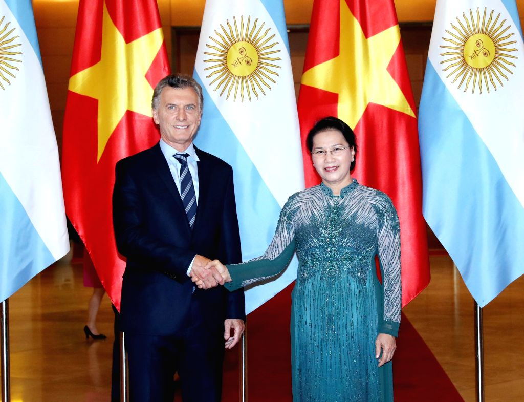 HANOI, Feb. 20, 2019 - Chairwoman of the National Assembly of Vietnam Nguyen Thi Kim Ngan (R) meets with Argentine President Mauricio Macri in Hanoi, capital of Vietnam, Feb. 20, 2019. Mauricio Macri ...