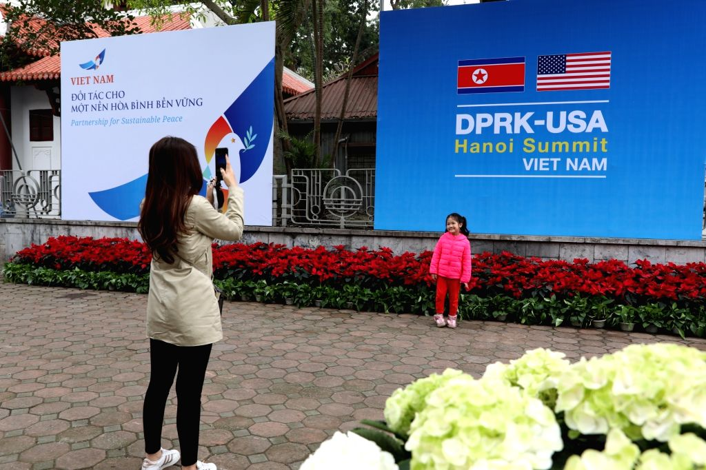 HANOI, Feb. 24, 2019 - People work at the International Media Center for the second summit between the Democratic People's Republic of Korea (DPRK) and the United States in Hanoi, Vietnam, on Feb. ...