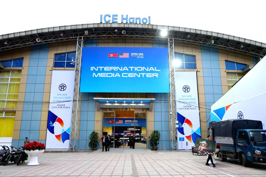 HANOI, Feb. 24, 2019 - Photo taken on Feb. 24, 2019 shows the exterior of the International Media Center for the second summit between the Democratic People's Republic of Korea (DPRK) and the United ...