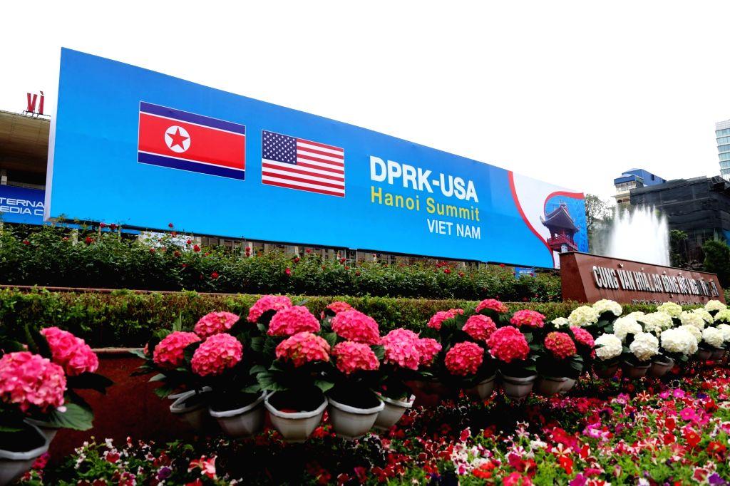 HANOI, Feb. 25, 2019 - Photo taken on Feb. 25, 2019 shows a billboard of the DPRK-U.S. summit in Hanoi, Vietnam. The second summit between top leader of the Democratic People's Republic of Korea ...