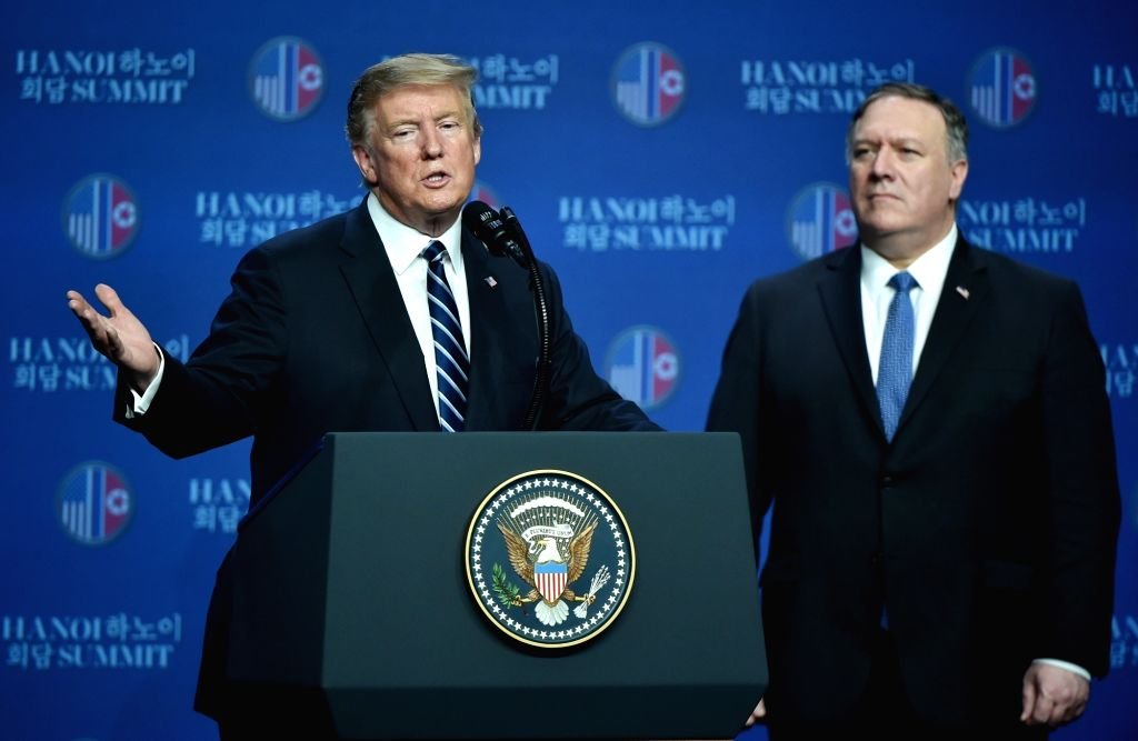 HANOI, Feb. 28, 2019 (Xinhua) -- U.S. President Donald Trump (L) speaks at a press conference in Hanoi, Vietnam, Feb. 28, 2019. A gap remained between what the Democratic People's Republic of Korea (DPRK) wanted and what the U.S. wanted, Donald Trump
