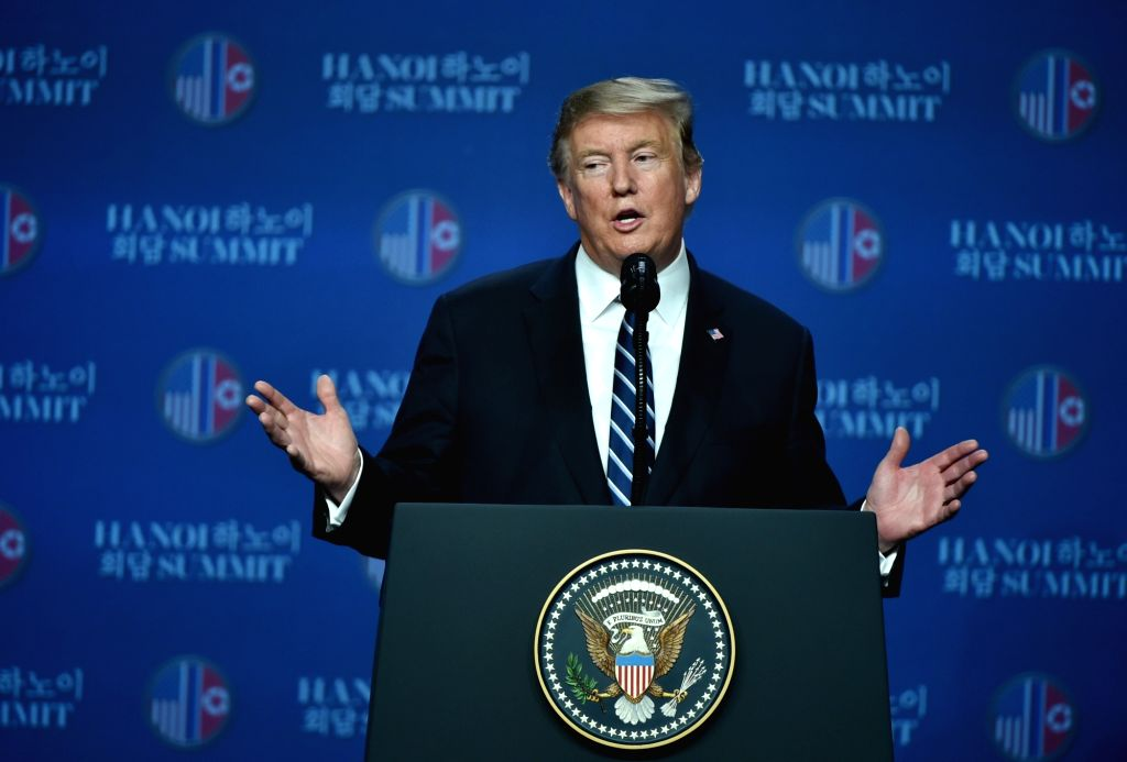 HANOI, Feb. 28, 2019 (Xinhua) -- U.S. President Donald Trump speaks at a press conference in Hanoi, Vietnam, Feb. 28, 2019. A gap remained between what the Democratic People's Republic of Korea (DPRK) wanted and what the U.S. wanted, Donald Trump tol