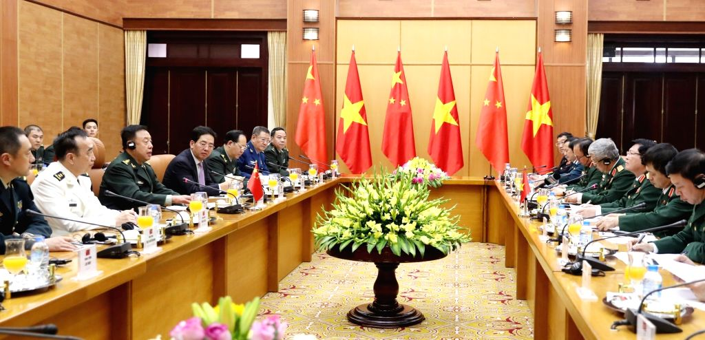HANOI, June 19, 2017 - Fan Changlong (3rd L), vice chairman of the Central Military Commission of China, holds talks with Vietnamese Minister of Defense Ngo Xuan Lich (3rd R) in Hanoi, capital of ...