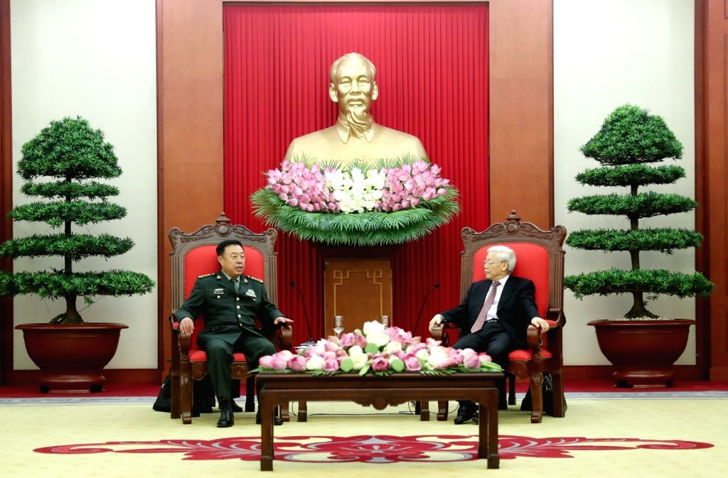 HANOI, June 19, 2017 - Fan Changlong (L), vice chairman of the Central Military Commission of China, meets with Nguyen Phu Trong, general secretary of the Central Committee of the Communist Party of ...