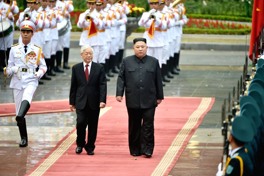 HANOI, March 2, 2019 (Xinhua) -- General Secretary of the Communist Party of Vietnam Central Committee and President Nguyen Phu Trong, and Chairman of the Workers' Party of Korea and the State Affairs Commission of the Democratic People's Republic of