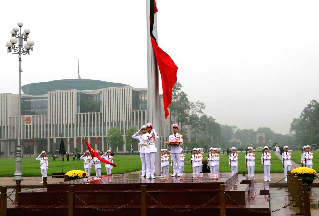 HANOI, May 3, 2019 - A ceremony to fly the national flag at half mast is held at Ba Dinh Square in Hanoi, capital of Vietnam, on May 3, 2019. The memorial service for Vietnamese former President Le ...