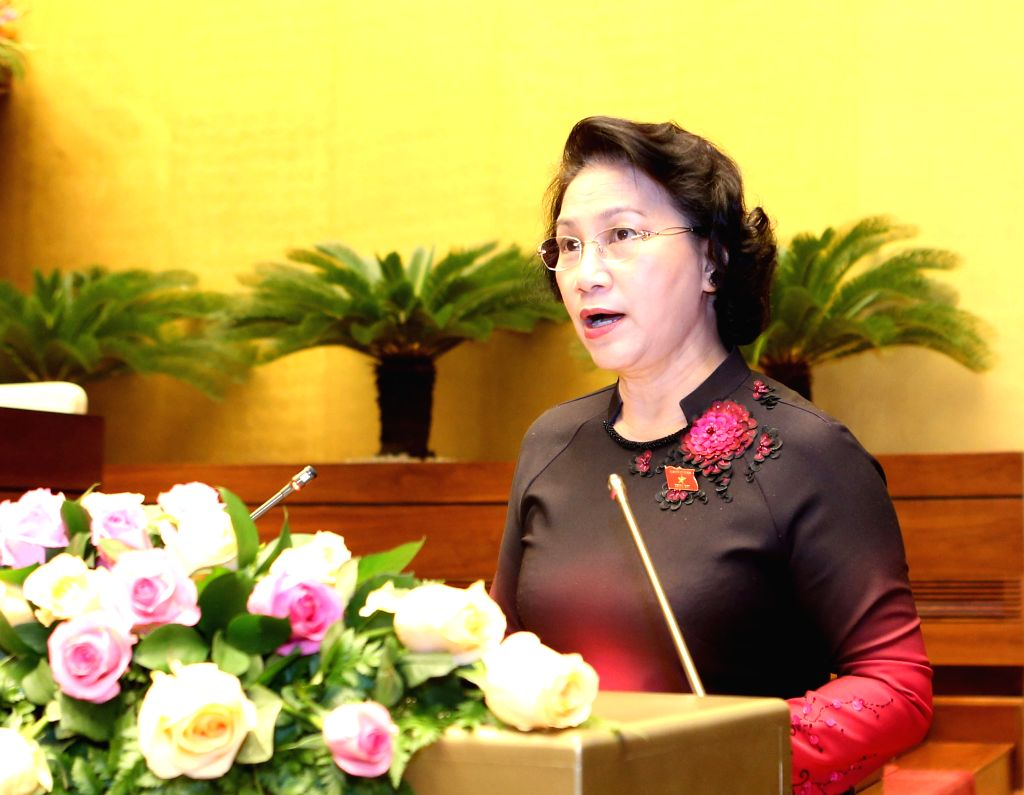 HANOI, Nov. 23, 2016 - Chairwoman of the National Assembly of Vietnam Nguyen Thi Kim Ngan delivers a speech at the closing ceremony of the second session of Vietnam's 14th National Assembly in Hanoi, ...