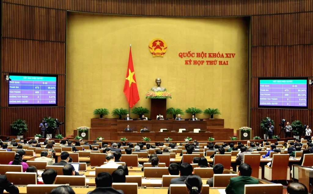 HANOI, Nov. 23, 2016 - Photo taken on Nov. 23, 2016 shows the closing ceremony of the second session of Vietnam's 14th National Assembly in Hanoi, capital of Vietnam, Nov. 23, 2016. The second ...