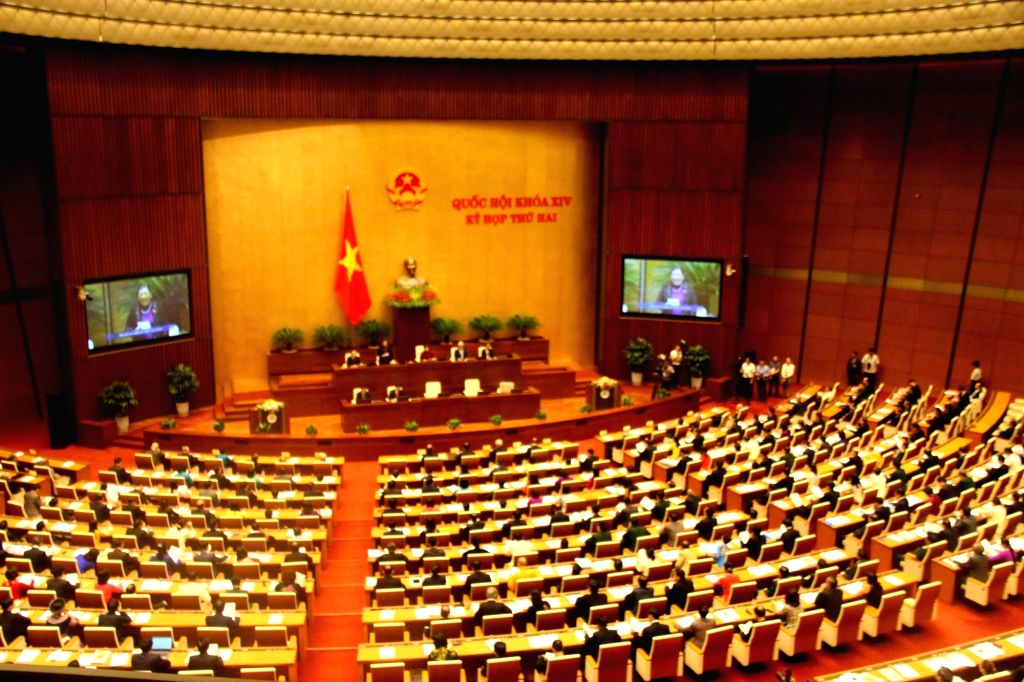 HANOI, Oct. 20, 2016 - Photo taken on Oct. 20, 2016 shows the second session of the 14th National Assembly of Vietnam in Hanoi, Vietnam. The second session of Vietnam's 14th National Assembly opened ...