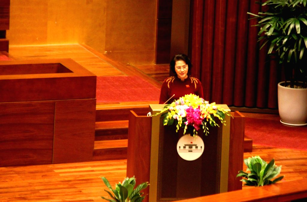 HANOI, Oct. 20, 2016 - Vietnamese National Assembly Chairwoman Nguyen Thi Kim Ngan addresses the second session of the 14th National Assembly of Vietnam in Hanoi, Vietnam, Oct. 20, 2016. The second ...