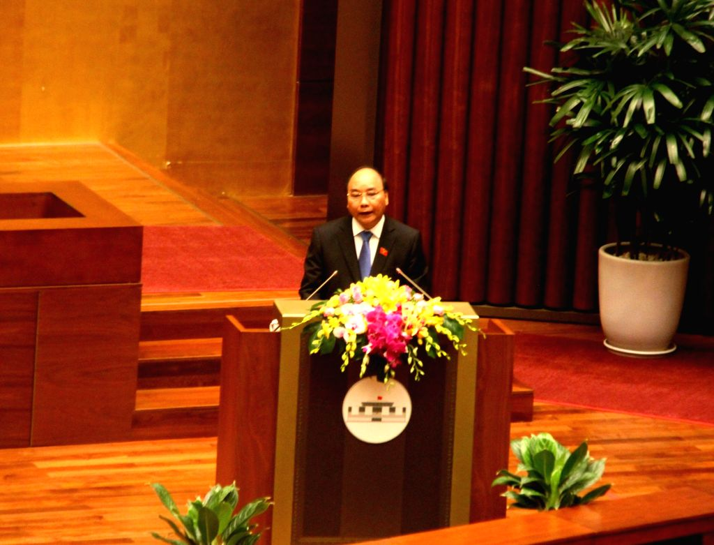 HANOI, Oct. 20, 2016 - Vietnamese Prime Minister Nguyen Xuan Phuc delivers a report during the second session of the 14th National Assembly of Vietnam in Hanoi, Vietnam, Oct. 20, 2016. The second ... - Nguyen Xuan Phuc