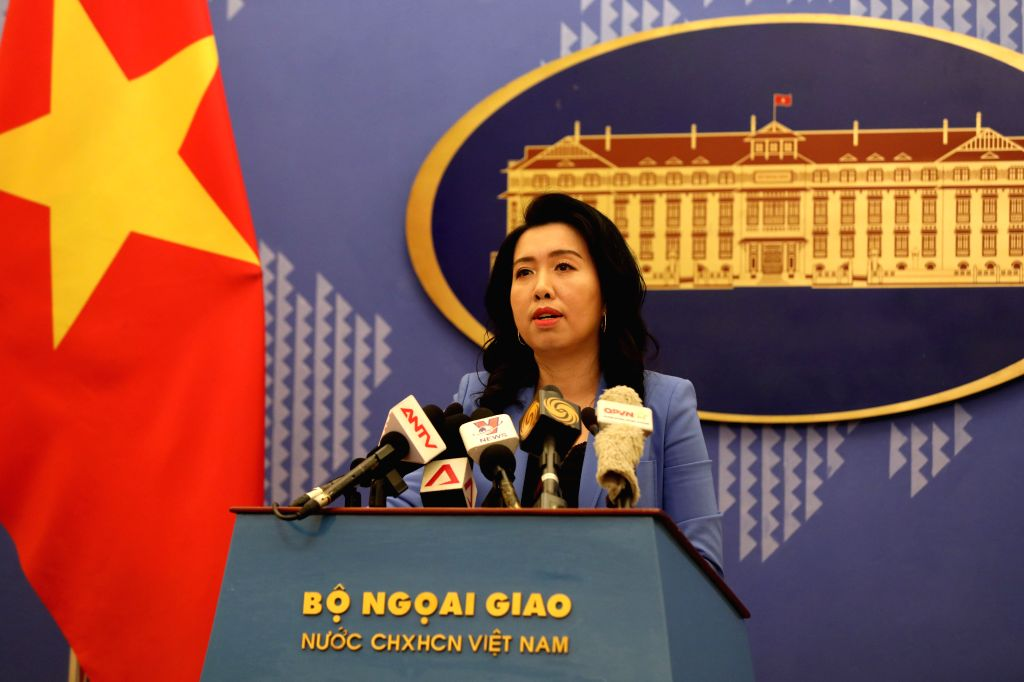 HANOI, Sept. 13, 2019 - Le Thi Thu Hang, spokesperson of the Vietnamese Ministry of Foreign Affairs, speaks at a press conference in Hanoi, capital of Vietnam, Sept. 12, 2019. Vietnam respects the ...
