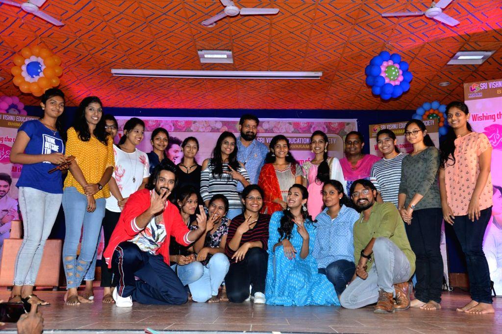 Happy Wedding' movie team seen at vishnu college, in Hyderabad.