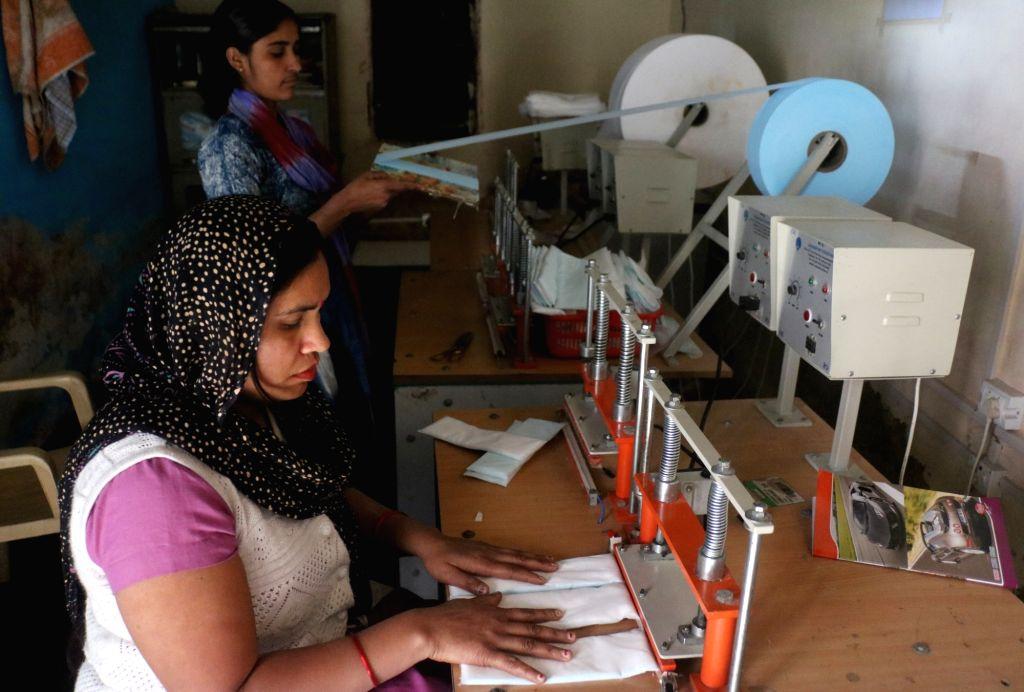 Hapur: Sanitary pads manufactured at the pad-manufacturing factory in Kathikhera, Hapur, Uttar Pradesh. (Photo: Bidesh Manna/IANS)
