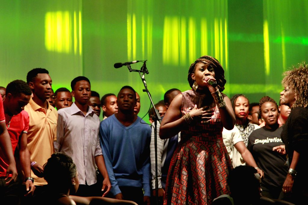 Entertainers perform on the opening ceremony of the six-day Harare International Festival of The Arts (HIFA), Harare, capital of Zimbabwe, on April 29, 2014. The ...