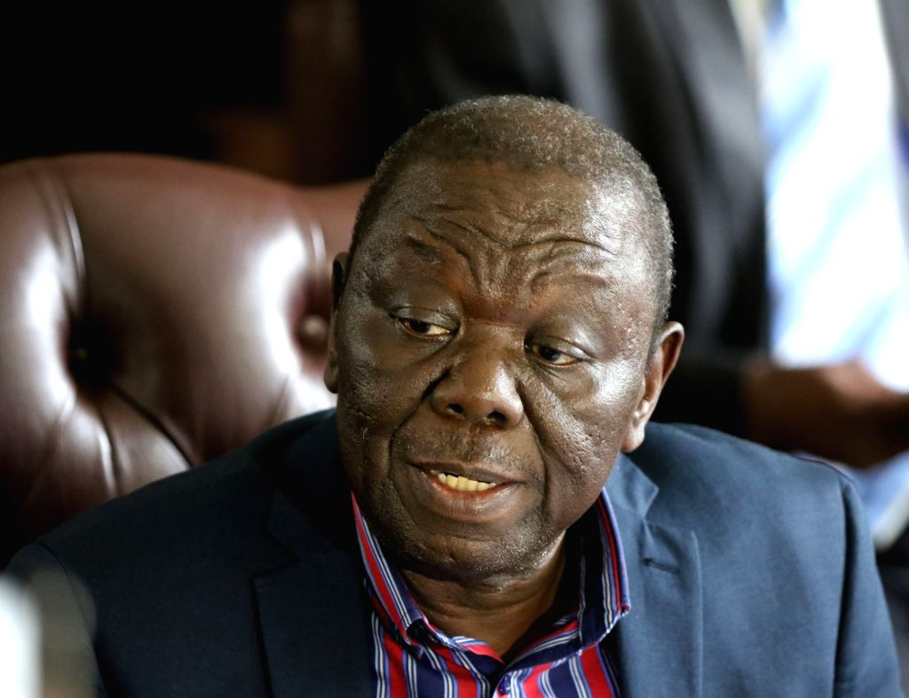 HARARE, Feb. 14, 2018 - File photo taken on Nov. 16, 2017 shows that Zimbabwe's main opposition leader Morgan Tsvangirai speaks to the media in Harare, capital of Zimbabwe. Zimbabwe's main opposition ...