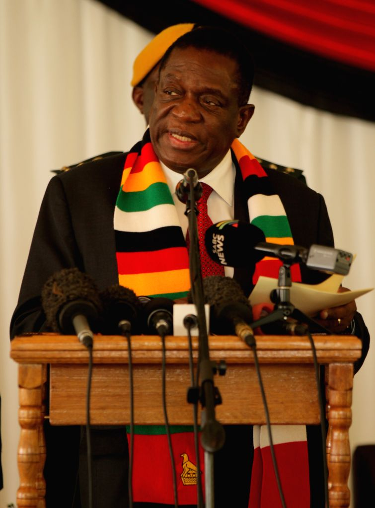 HARARE, Feb. 7, 2019 - Zimbabwean President Emmerson Mnangagwa addresses to opposition party leaders during a post-election dialogue meeting at State House in Harare, Zimbabwe, Feb. 6, 2019. ...