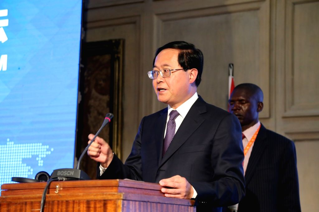 HARARE, June 11, 2018 - Che Jun (Front), secretary of Zhejiang Provincial Committee of the Communist Party of China (CPC), addresses the opening ceremony of Zimbabwe-China Business Forum in Harare, ...