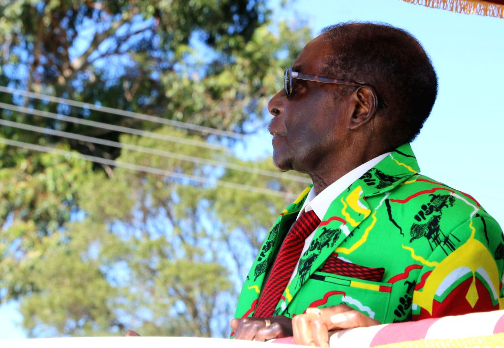 HARARE, June 3, 2017 - Zimbabwean President Robert Mugabe looks at his supporters in the Mashonaland East provincial capital Marondera, about 80 km south of Harare, Zimbabwe, June 2, 2017. Robert ...