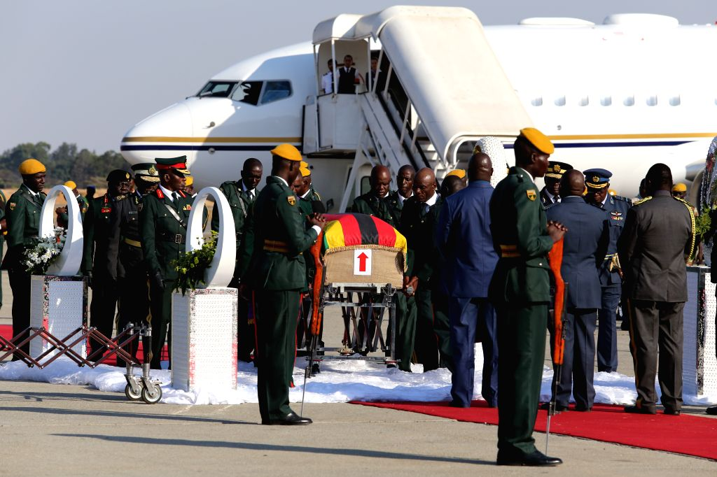 HARARE, Sept. 11, 2019 - The body of the late former Zimbabwean President Robert Mugabe arrives at the Robert Gabriel Mugabe International Airport in Harare, Zimbabwe, on Sept. 11, 2019. The body of ...