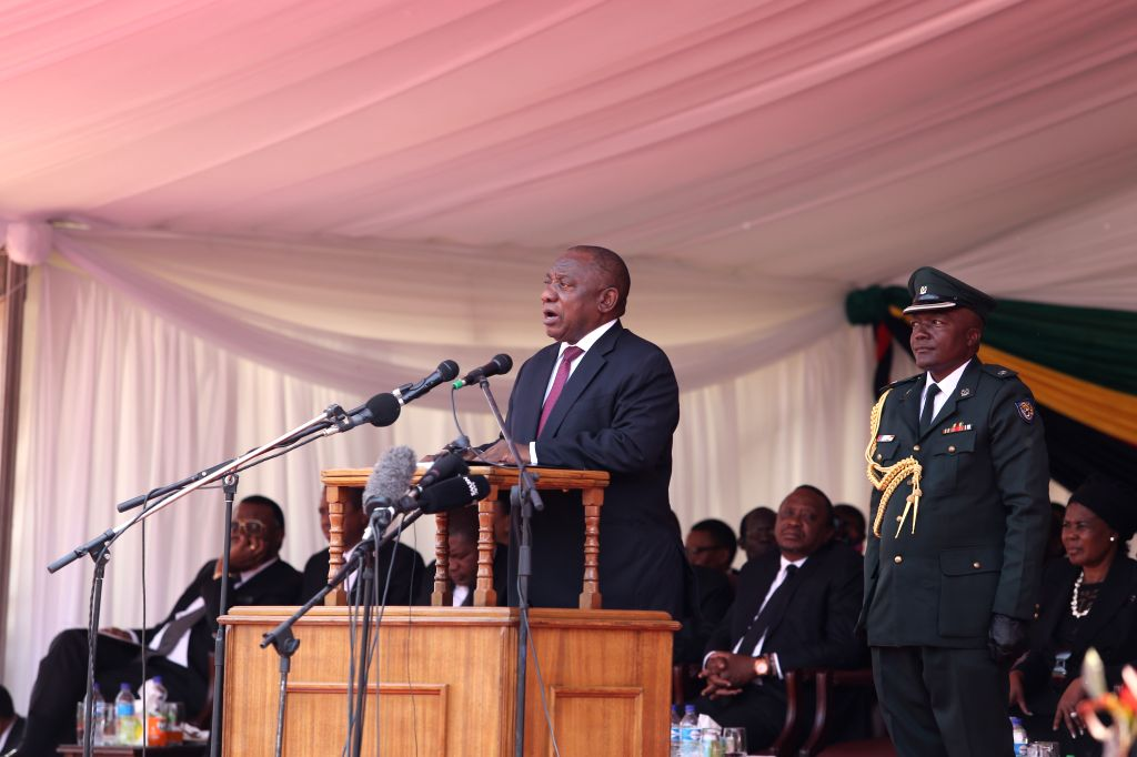 HARARE, Sept. 14, 2019 - South African President Cyril Ramaphosa addresses Robert Mugabe's state funeral in Harare, Zimbabwe, on Sept. 14, 2019. Dignitaries including former and current African ...