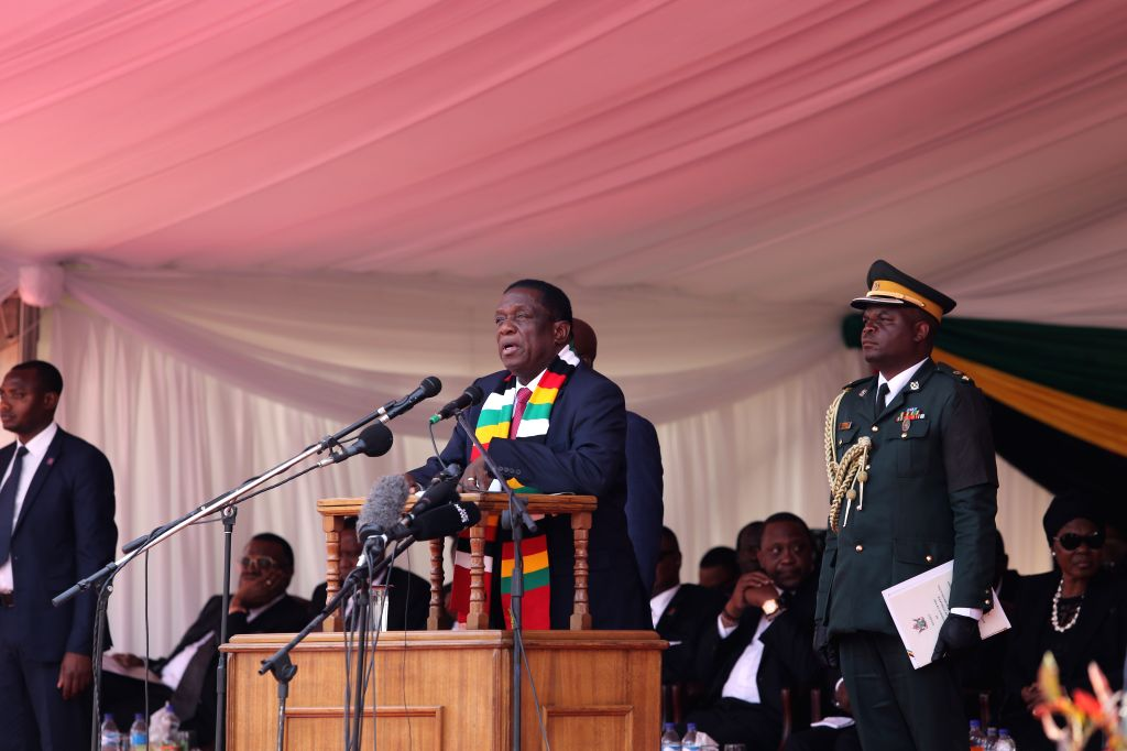 HARARE, Sept. 14, 2019 - Zimbabwean President Emmerson Mnangagwa addresses Robert Mugabe's state funeral in Harare, Zimbabwe, on Sept. 14, 2019. Dignitaries including former and current African ...