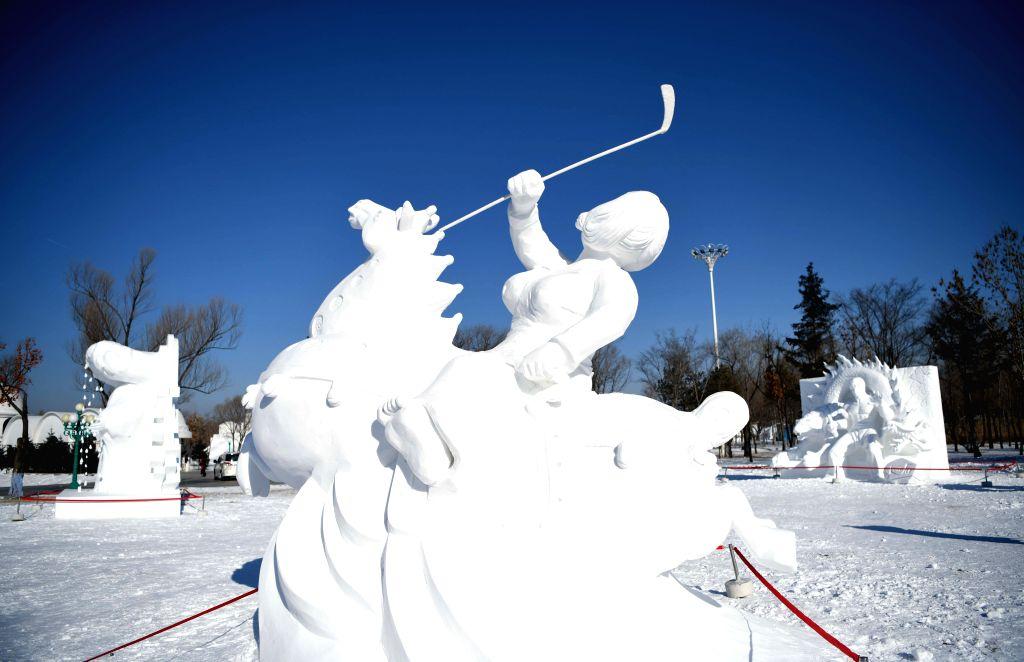 HARBIN, Jan. 26, 2019 - A snow sculpture work is seen at the Sun Island first international art elite snow sculpture competition in the Sun Island International Snow Sculpture Art Expo Park in ...