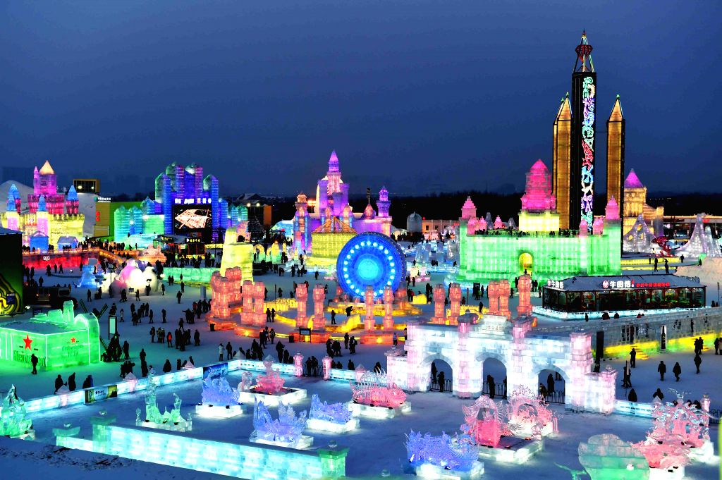 Tourists visit the Ice and Snow World of Harbin, capital of northeast China's Heilongjiang Province, Jan. 5, 2015. The 31th China (Harbin) International Ice and Snow .