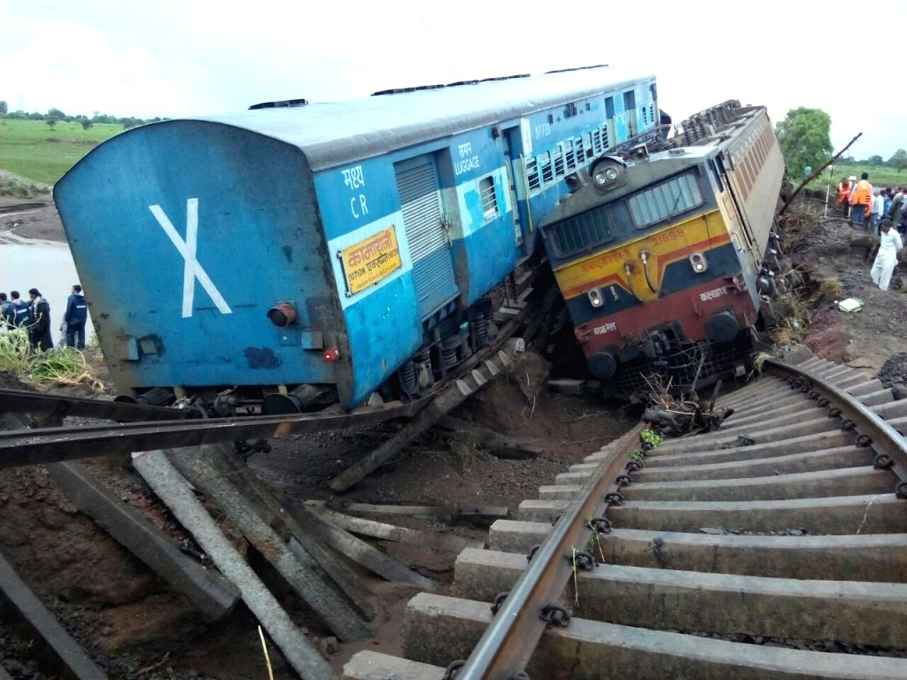 Harda (Madhya Pradesh): The mangled remains of Varanasi-bound Kamayani Express and Mumbai-bound Janata Express at the site where they were derailed in Harda district of Madhya Pradesh on Aug 5, 2015. ...