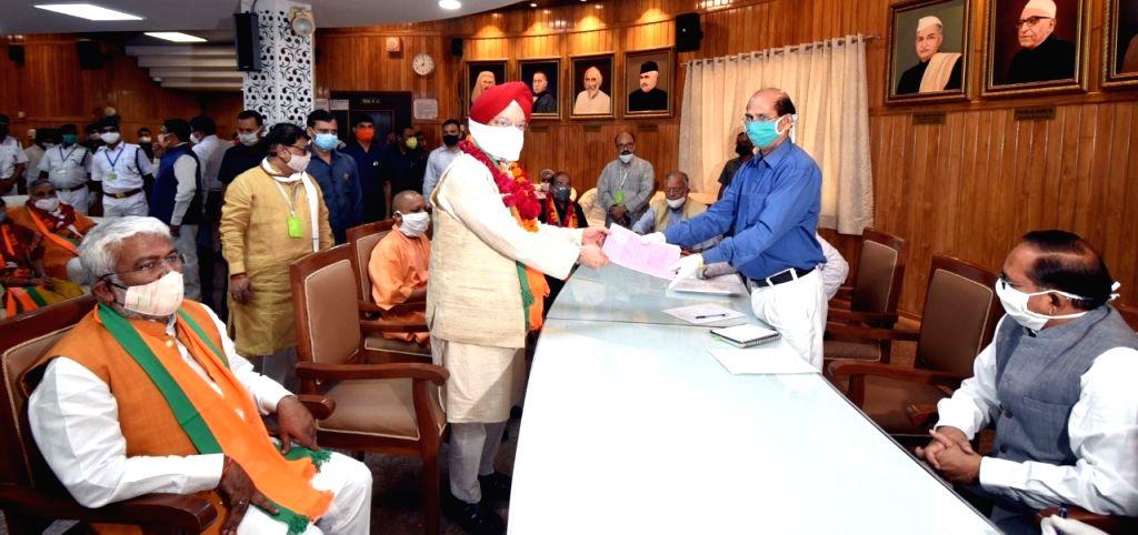 Hardeep puri filing nomination for rajya sabha in Lucknow