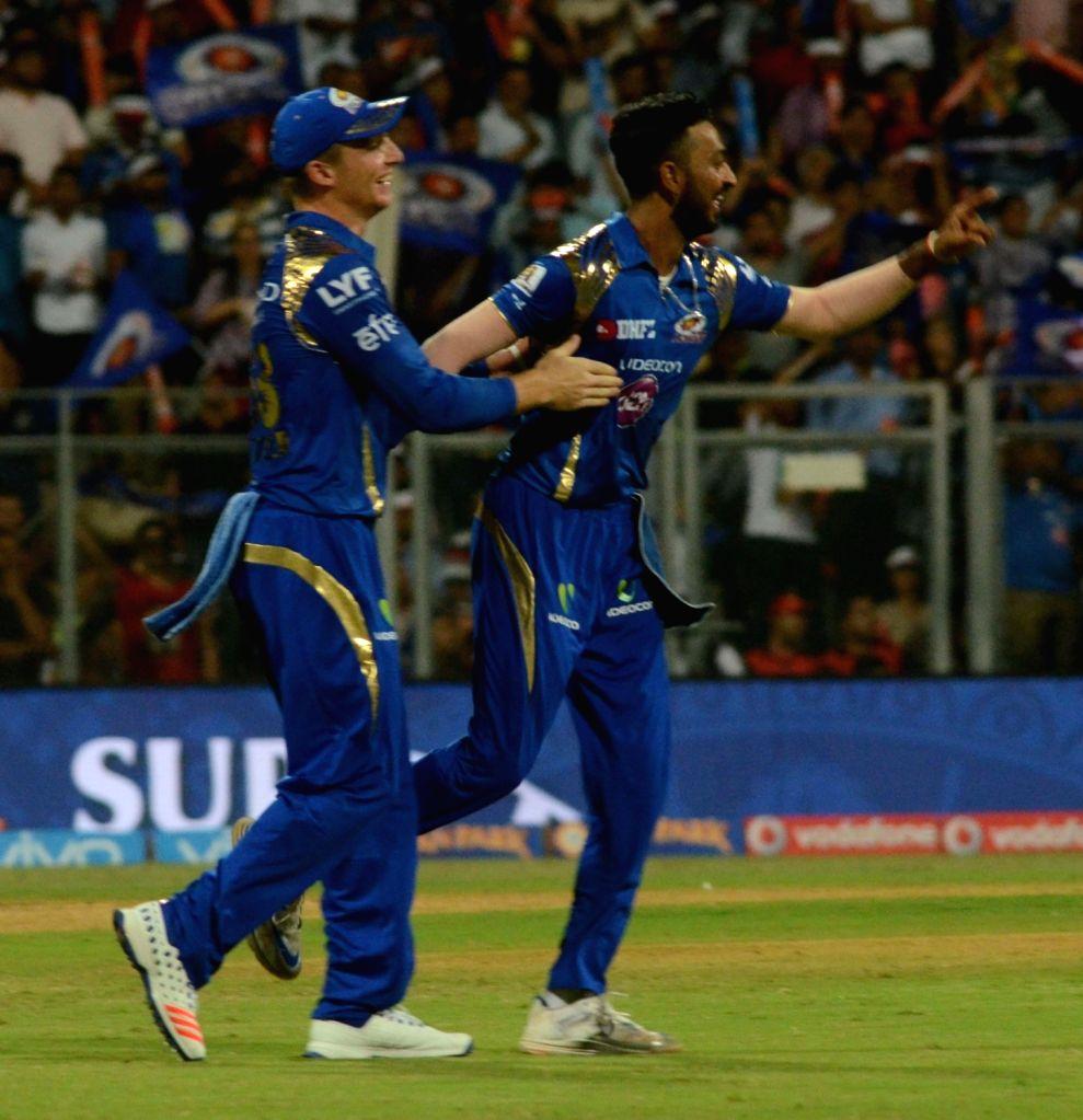 Hardik Pandya of Mumbai Indians celebrates fall of a wicket during an IPL match between  Mumbai Indians and Royal Challengers Bangalore at Wankhede Stadium in Mumbai on April 20, 2016.