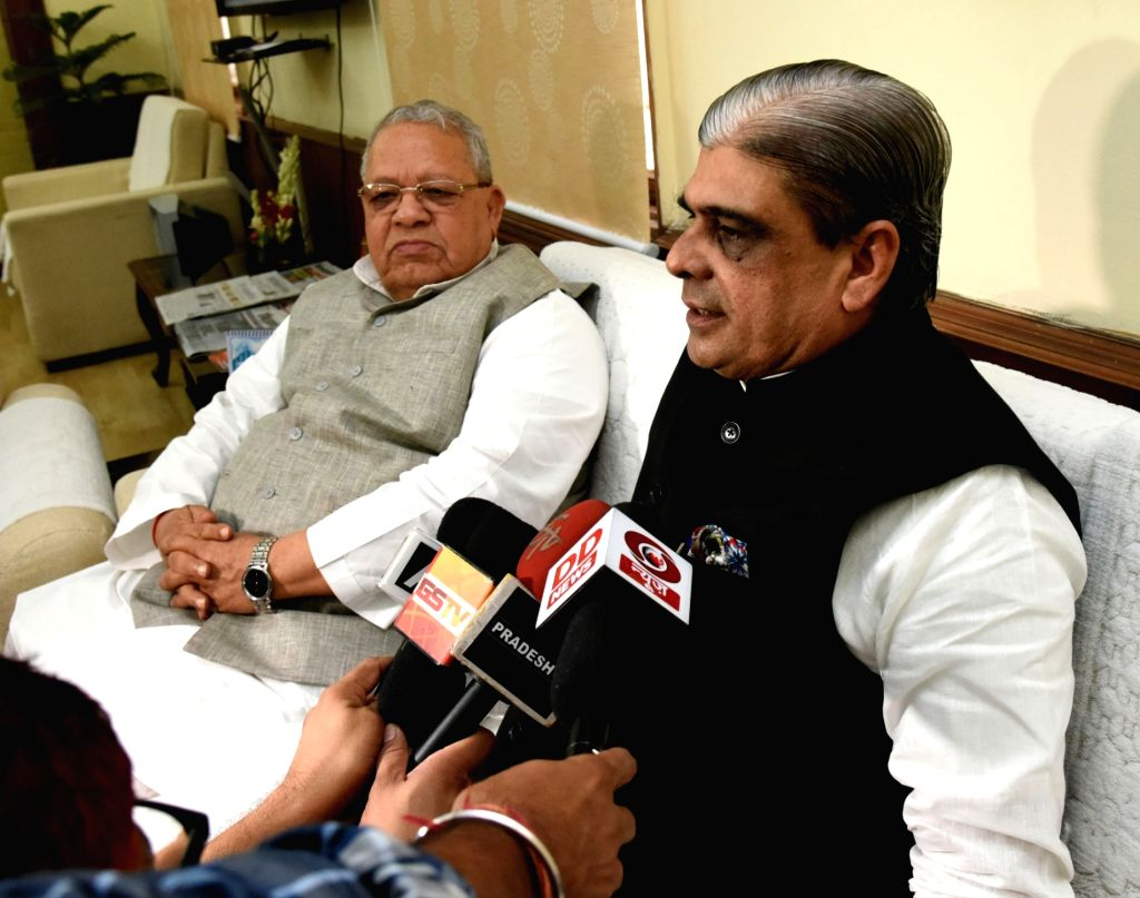 Haribhai Parthibhai Chaudhary talks to press after taking charge as Union Minister of State for Micro, Small and Medium Enterprises, in the presence of the Union Minister for Micro, Small ... - Haribhai Parthibhai Chaudhary and Enterprises Kalraj Mishra