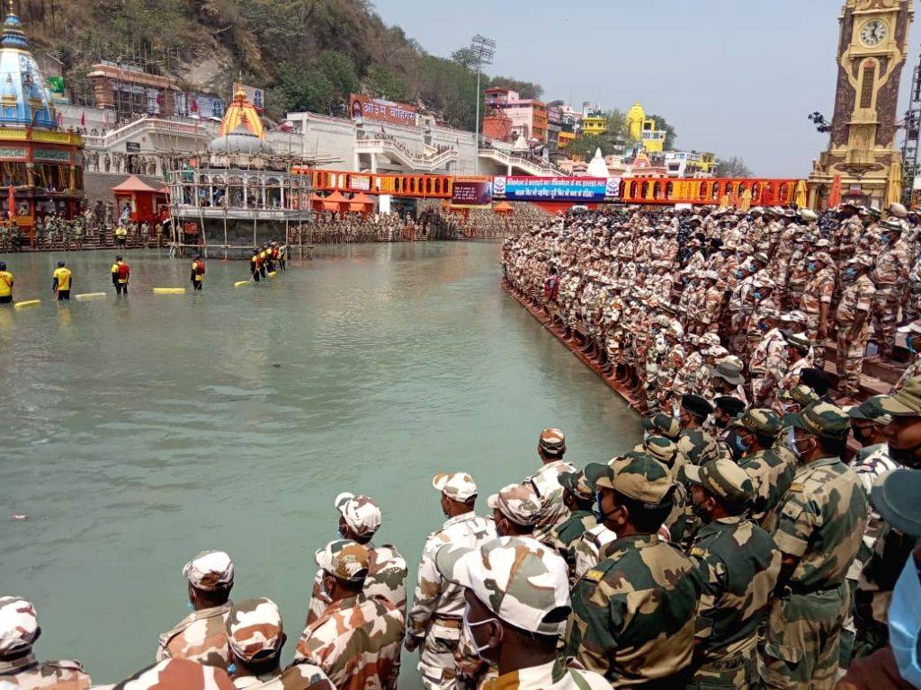 Haridwar: Pledge for safe Mahakumbh by ITBP and other CAPFs and State Police at Har ki Pauri.