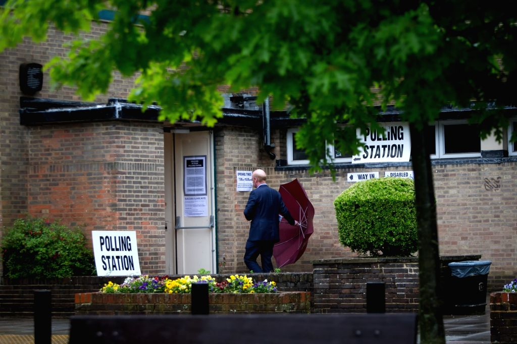 HARPENDEN, June 23, 2016 - A man arrives at a polling station in Harpenden, Britain, on June 23, 2016. Millions of Britons will vote to stay in or leave the European Union (EU) on Thursday as polling ...