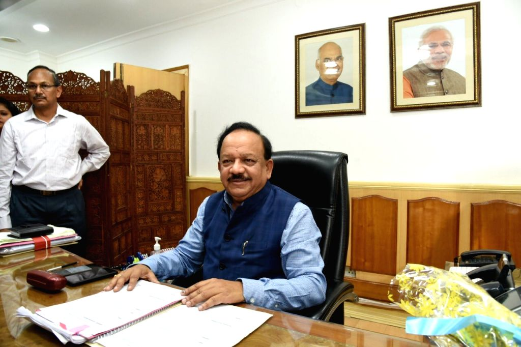 Harsh Vardhan takes charge as the Union Minister for Health and Family Welfare, at Nirman Bhawan in New Delhi on June 3, 2019.