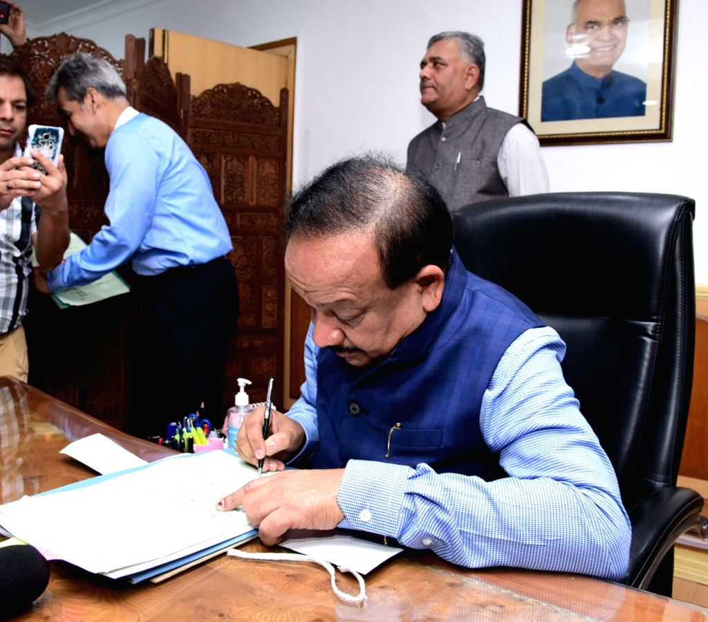 Harsh Vardhan takes charge as Union Health and Family Welfare Minister, in New Delhi on June 3, 2019.