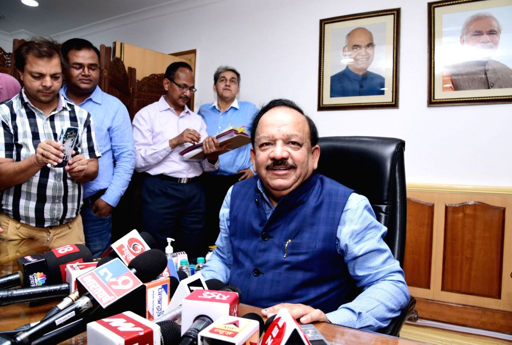 Harsh Vardhan talks to the media persons after taking charge as Union Health and Family Welfare Minister, in New Delhi on June 3, 2019.