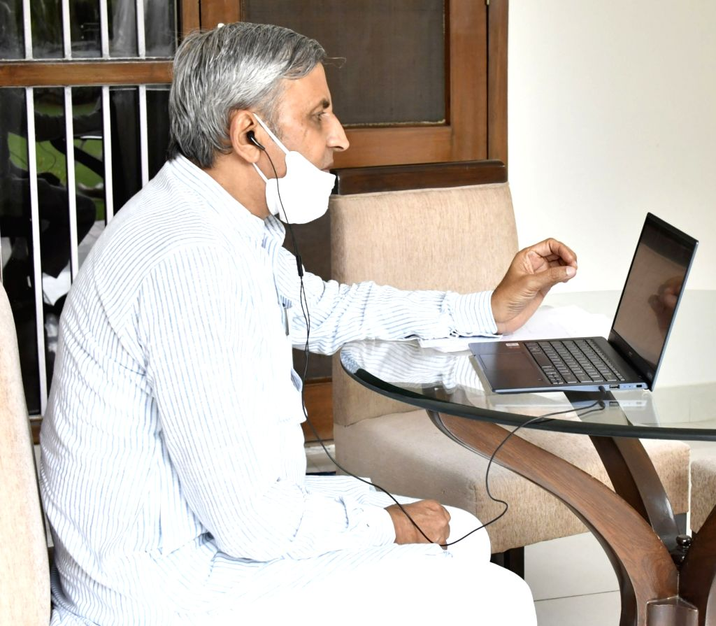 Haryana Agriculture and Farmers' Welfare Minister J.P. Dalal digitally interacts with farmers across the state, in Chandigarh on June 24, 2020. - J.