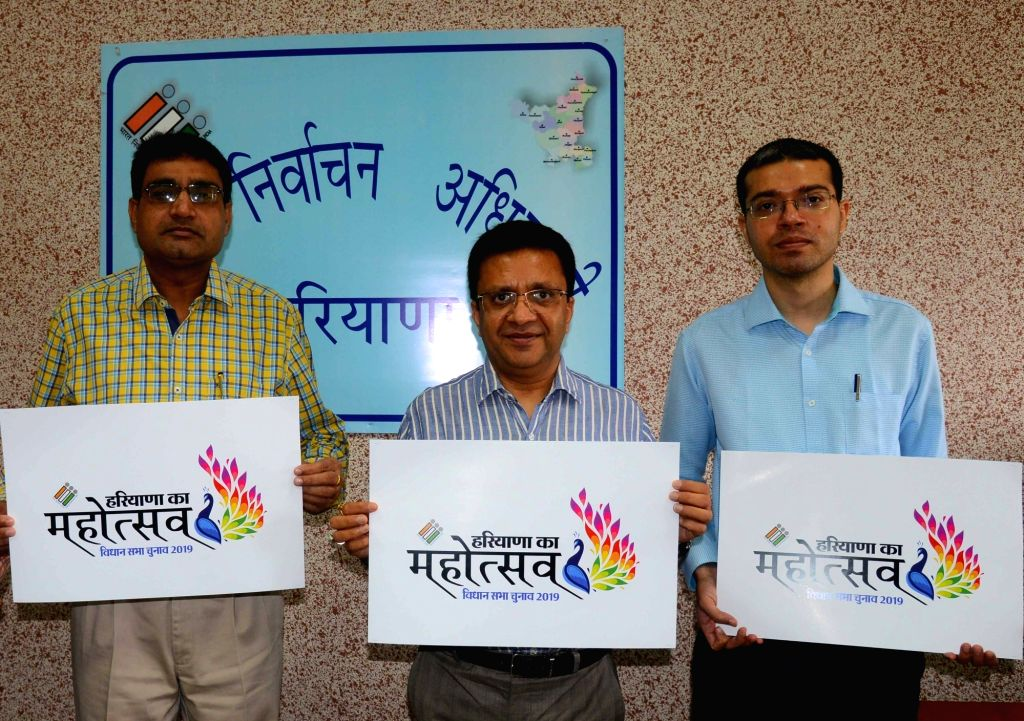 Haryana Chief Electoral Officer Anurag Agarwal releases the logo for the upcoming state assembly elections 2019 in Chandigarh on Sep 5, 2019. Also seen Joint Chief Electoral Officers ...