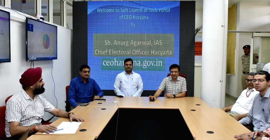 """Haryana Chief Electoral Officer (CEO) Anurag Agarwal launches the new website """"ceoharyana.gov.in"""", in Chandigarh on Oct 16, 2019."""