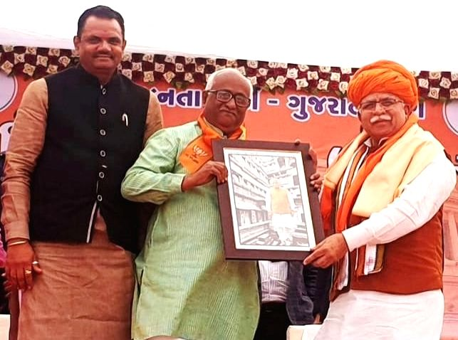 Haryana Chief Minister and BJP leader Manohar Lal Khattar during a party programme in Patan, Gujarat on Feb 8, 2019. - Manohar Lal Khattar