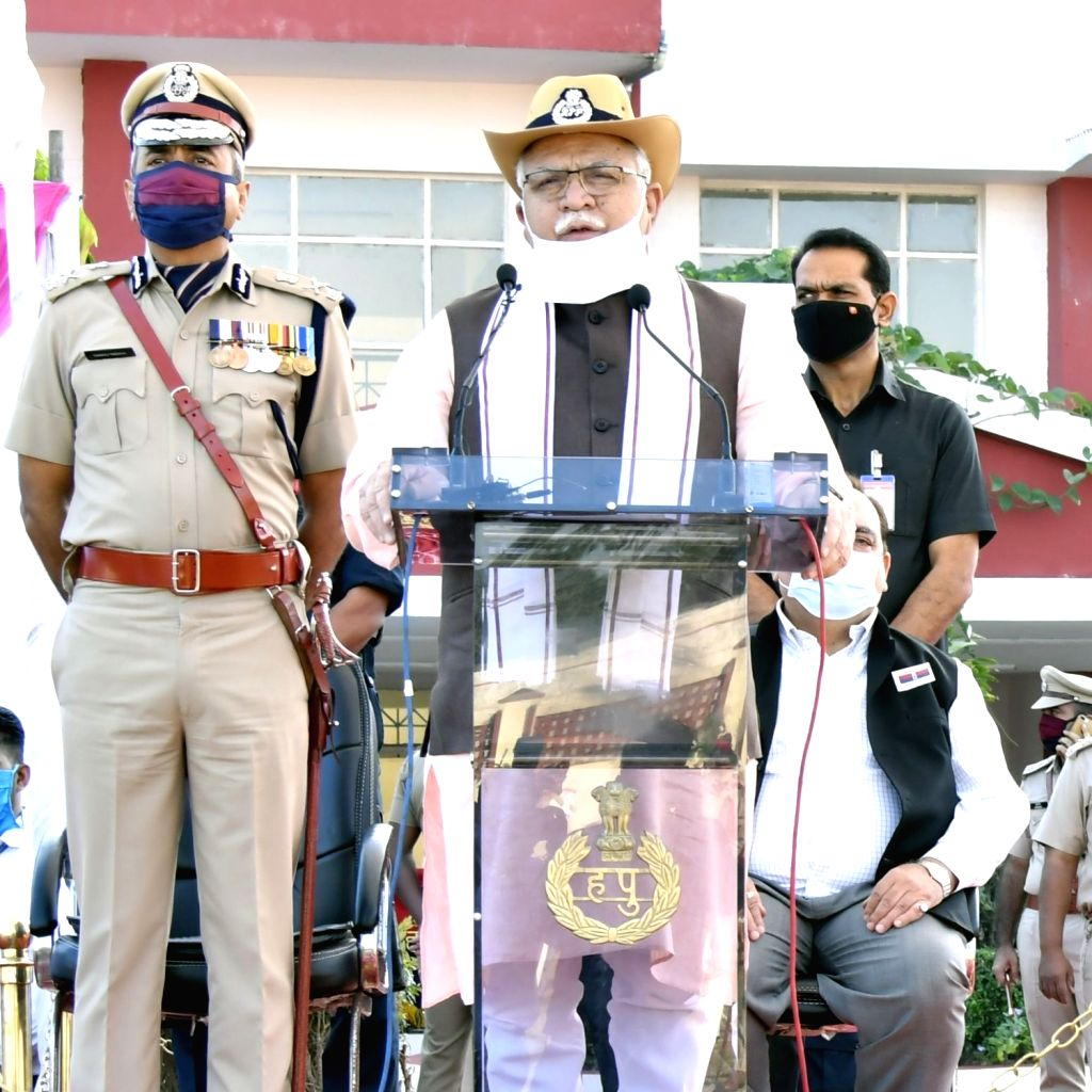 Haryana Chief Minister Manohar Lal Khattaraddresses during Police Commemoration Day programme at Police Line, Moginand in Panchkula on Oct 21, 2020. - Manohar Lal Khattaraddres